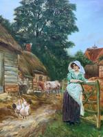 Wonderful Original Signed Vintage Oil Painting - Pretty Milkmaid in Farmyard (4 of 12)