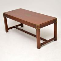Antique Military Campaign Mahogany & Brass Coffee Table (3 of 8)
