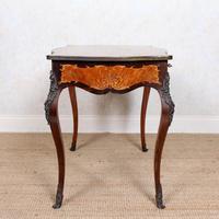 Serpentine Writing Table Louis XVI Style Inlaid Kingwood (13 of 19)