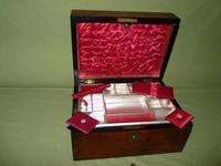 Inlaid Figured Walnut Jewellery – Work Box. Original Tray. C1870 (11 of 13)