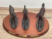 """Set 3 Small Solid Bronze Horse Racing """"The Origins of Champions"""" by Gill Parker (6 of 45)"""