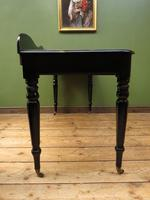 Antique Black Ebonized Console Table with Drawers & Moustache Back (13 of 22)