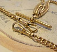 Victorian Pocket Watch Chain 1890s Antique 12ct Rose Gold Filled Albert With T Bar (8 of 12)