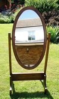 1930's Art Deco Oak  Cheval Mirror (7 of 18)