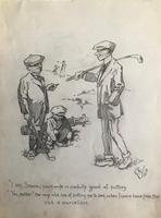 Original pencil drawing of 2 golfers and their caddie. Initialled J.R. and dated 1910