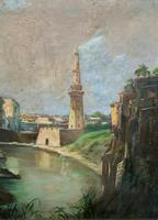Large Early 1900s North African Cityscape with Mosque Oil Painting on Canvas (11 of 15)