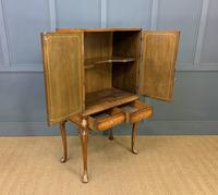 Floral Painted Burr Walnut Cabinet on Stand (9 of 15)