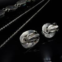 Art Deco Blue Porcelain Scarab Beetle Silver Full Set Suite - Necklace Earrings Bracelet (5 of 10)