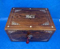 William IV Rosewood Jewellery Box Inlaid with Beautiful Mother of Pearl (2 of 14)