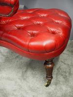 Victorian Oak & Crimson Leather Cockfighting Chair (6 of 10)