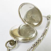 Silver 1923 Buren Pocket Watch & Chain (2 of 4)