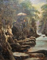 Small Original 19th Century Victorian Woodland River Landscape Oil Painting (5 of 12)