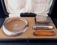 Antique cigar smokers set, silver, Amber and gold (7 of 11)