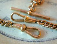 Antique Pocket Watch Chain 1890s Victorian 18ct Rose Rolled Gold Albert With T Bar (9 of 12)