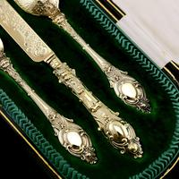 Antique Victorian Solid Silver Gilt Traveling / Christening Cutlery Set - Martin Hall & Co. 1872 (14 of 22)