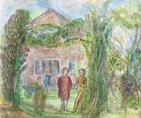 Original watercolour 'Figures in the garden by Ruth Collet 1909-2001. Signed on the reverse. c.1980