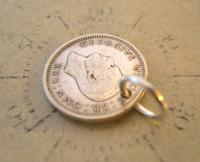 Vintage Pocket Watch Chain Fob 1939 WW2 Lucky Silver Three Pence Old 3d Coin Fob (4 of 5)