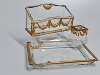19thc Antique French Gilt Bronze Ormolu & Cut Crystal Desk Set - Letter Rack Holder, Pen / Note Tray & Pot (2 of 17)