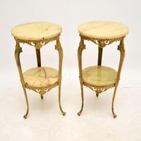 Pair of Antique French Brass & Onyx Side Tables (2 of 7)