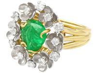 2.42ct Emerald & 0.95ct Diamond, 18ct Yellow Gold Dress Ring - Antique c.1920 (8 of 9)