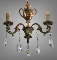 Gilt Bronze Chandelier 3 Arm Ceiling Light with Crystal Droplets (8 of 8)