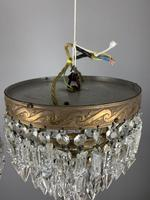 Pair of French 1930s Flush Ceiling Crystal & Brass Ceiling Lights, Rewired (5 of 9)