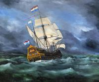 Huge Magnificent 20th Century Vintage Seascape Oil Painting - Battleship in Rough Sea (3 of 12)