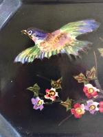 Bretby Art Pottery Black Cloisonne Ware Tray With Painted Birds & Blossom (3 of 9)