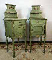 Antique French Painted Bedside Tables Pot Cupboards Original Paint