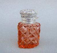 Unusual Victorian Silver & Cut Glass Heart-shaped Scent Bottle c.1895 (2 of 8)