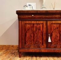 Antique French Flamed Mahogany Sideboard / Cupboard / Marble Linen Cabinet (4 of 4)