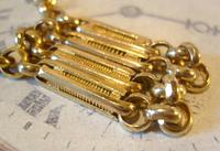Vintage Pocket Watch Chain 1950s 12ct Gold Plated Large Fancy Link Albert Victorian Revival (6 of 12)
