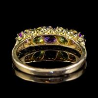 Antique Edwardian Suffragette Ring Amethyst Peridot Diamond 18ct Gold c.1904 (2 of 5)