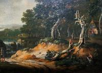 Exceptional Large 1700s Old Master Giltwood Landscape Oil on Canvas Painting (14 of 17)