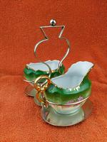 Antique Bone China Milk Jug & Sugar Bowl in Silver Pate Carry Stand C1890
