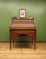 Antique Oak Roll Top Writing Desk, Tambour Front Bureau Desk (2 of 20)