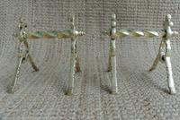 Quality Aesthetic Movement Brass Fire-Dogs Fire Iron Rests Andirons c.1880 (3 of 7)