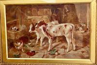 Victorian Oil of a Farmyard Scene C1900 (2 of 6)