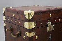 Pair of early 20th century leather bound ex army trunks (9 of 10)