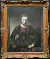 Large Exceptional Quality Vintage Half-length Portrait Print On Canvas Picture