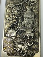 Set of 4 Antique Chinese Silver Zu Yin Hallmarked Scroll Weight Plaques Guangxu (9 of 12)