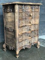 Antique Bleached Oak French Chest of Drawers (5 of 8)