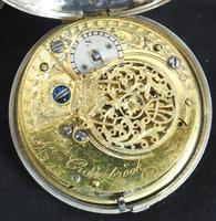 Antique Silver Pair Case Pocket Watch Fusee Verge Escapement Key Wind Enamel J Crainbrook (7 of 10)