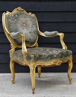 Beautiful Matched Pair of Fine Quality French Gilt Armchairs c.1900 (2 of 16)