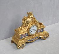 French Napoleon III Bronze Gilt & Porcelain Mantel Clock by Vincenti (5 of 9)