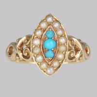 Antique Turquoise & Pearl Ring 18ct Gold Victorian Navette Shaped Ring circa 1890 (13 of 16)
