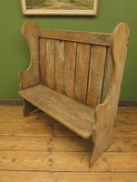 Antique Elm Tavern Bench Settle, Rustic Hall Seat (10 of 19)