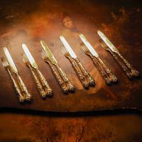 Antique Victorian Solid Silver Gilt Fruit / Dessert Knives & Forks Set of Six in Queens Pattern - Aaron Hadfield 1839 (9 of 32)