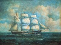 Original Seascape Oil Painting of 18th Century Tall-Masted Ship on the High Seas (12 of 12)