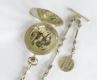 1924 Silver Arcadia Pocket Watch & Chain (3 of 4)